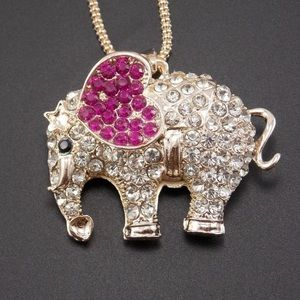 Jewelry - Gold Filled CZ Pink Elephant Necklace